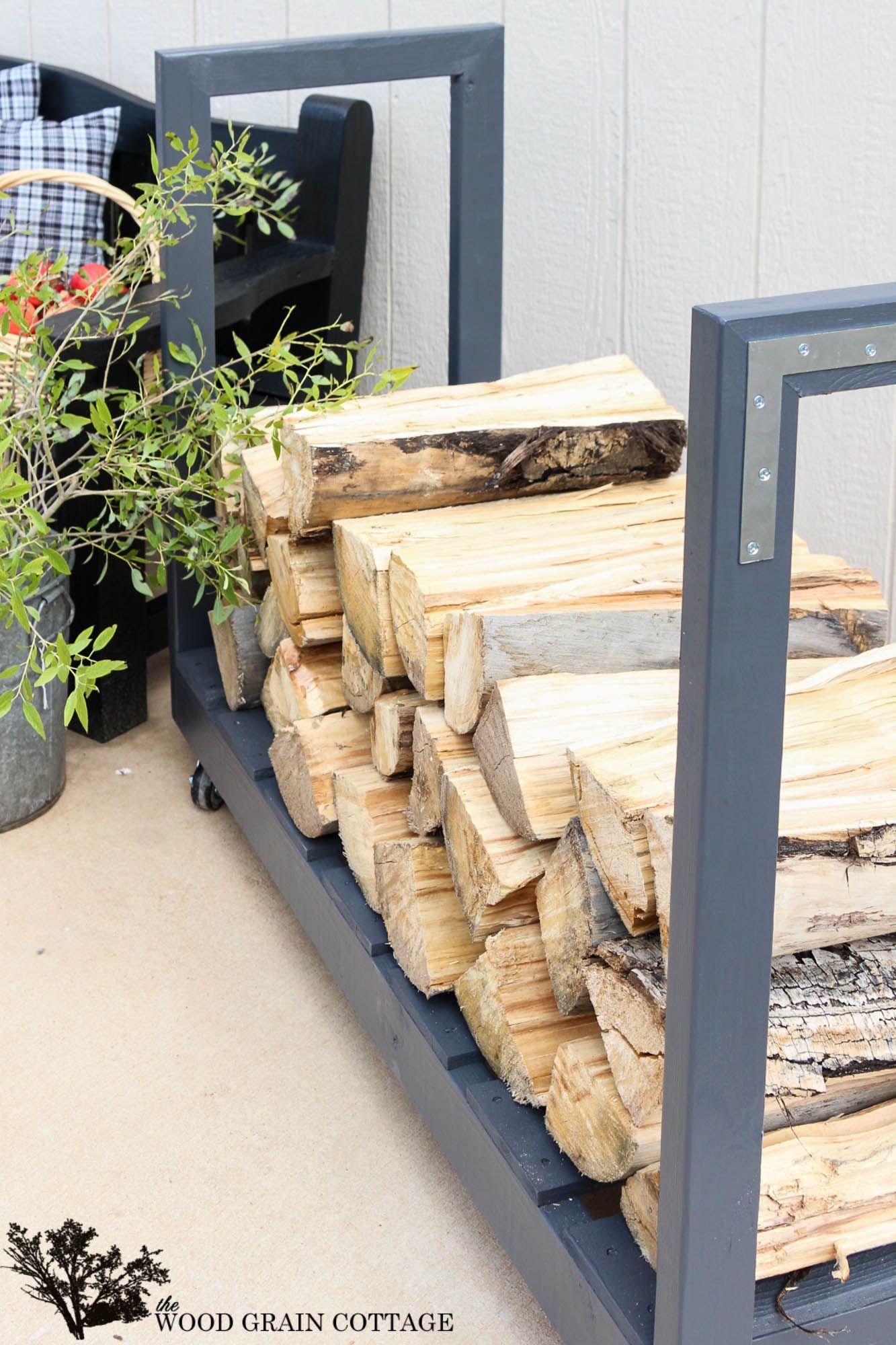 Diy Rolling Firewood Cart Outdoor