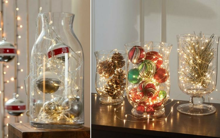 Große Glasvase Weihnachtlich Dekorieren Ideen Lichterkette