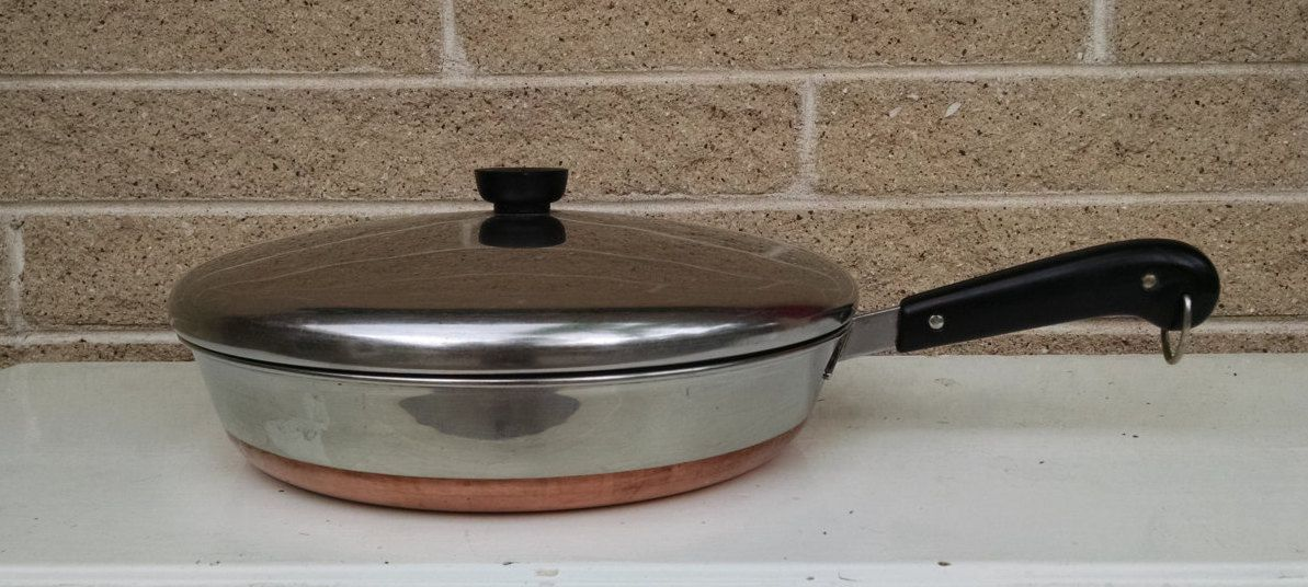 Revere Ware 1801 Copper Bottom Fry Pan Skillet Large 12 Inch Diameter Stainless Steel Vintage Cookware Revere Ware Copper Bottom Pans