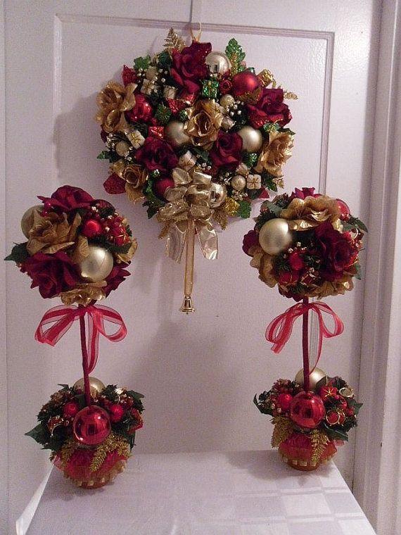 Nice Christmas Topiary Ideas Part - 3: Christmas Topiary Centerpieces   Christmas Wreath Holiday Topiary  Centerpiece   Holiday Ideas!