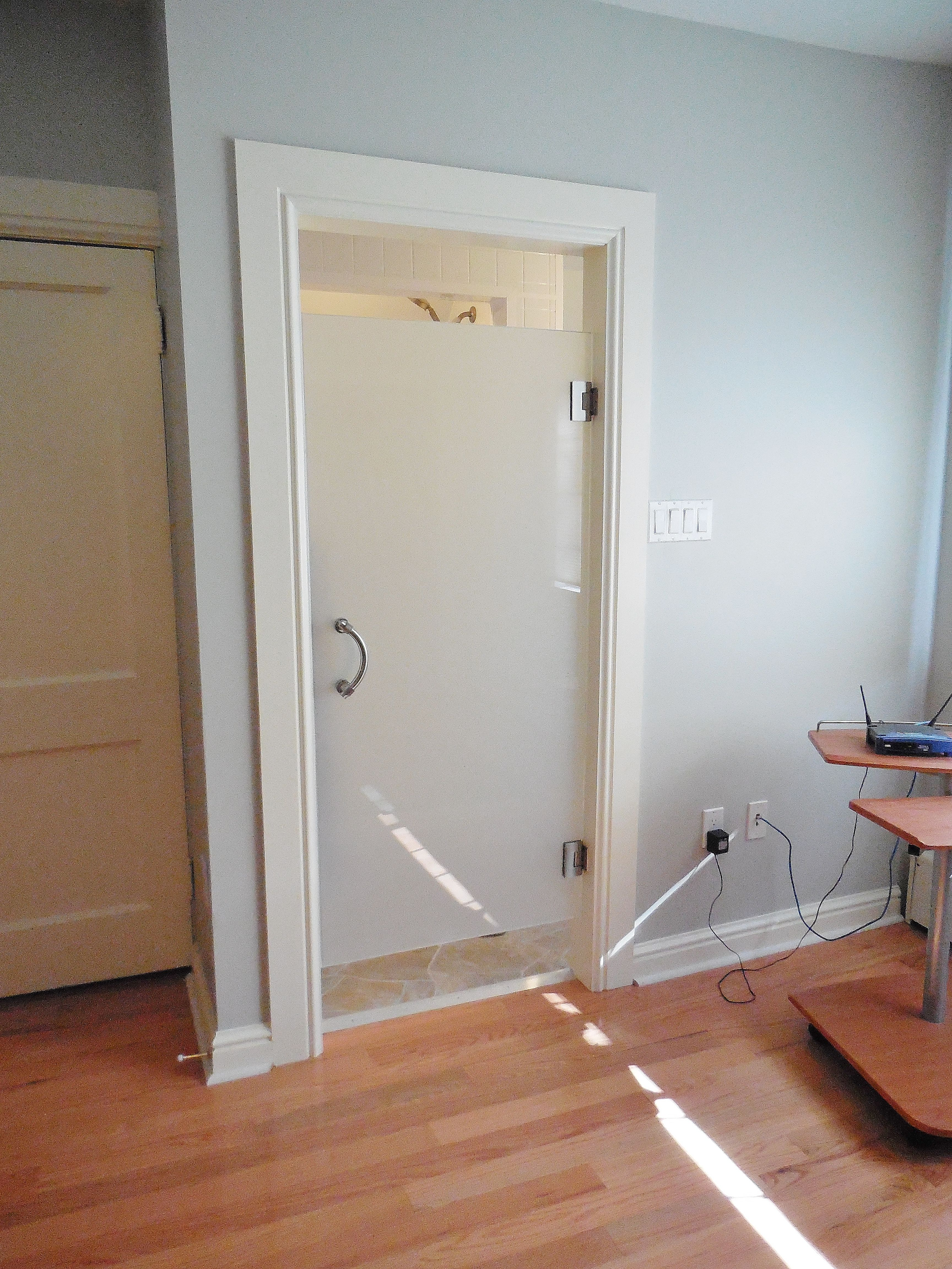 Custom Interior Glass Door With Privacy Ban Furnished Installed