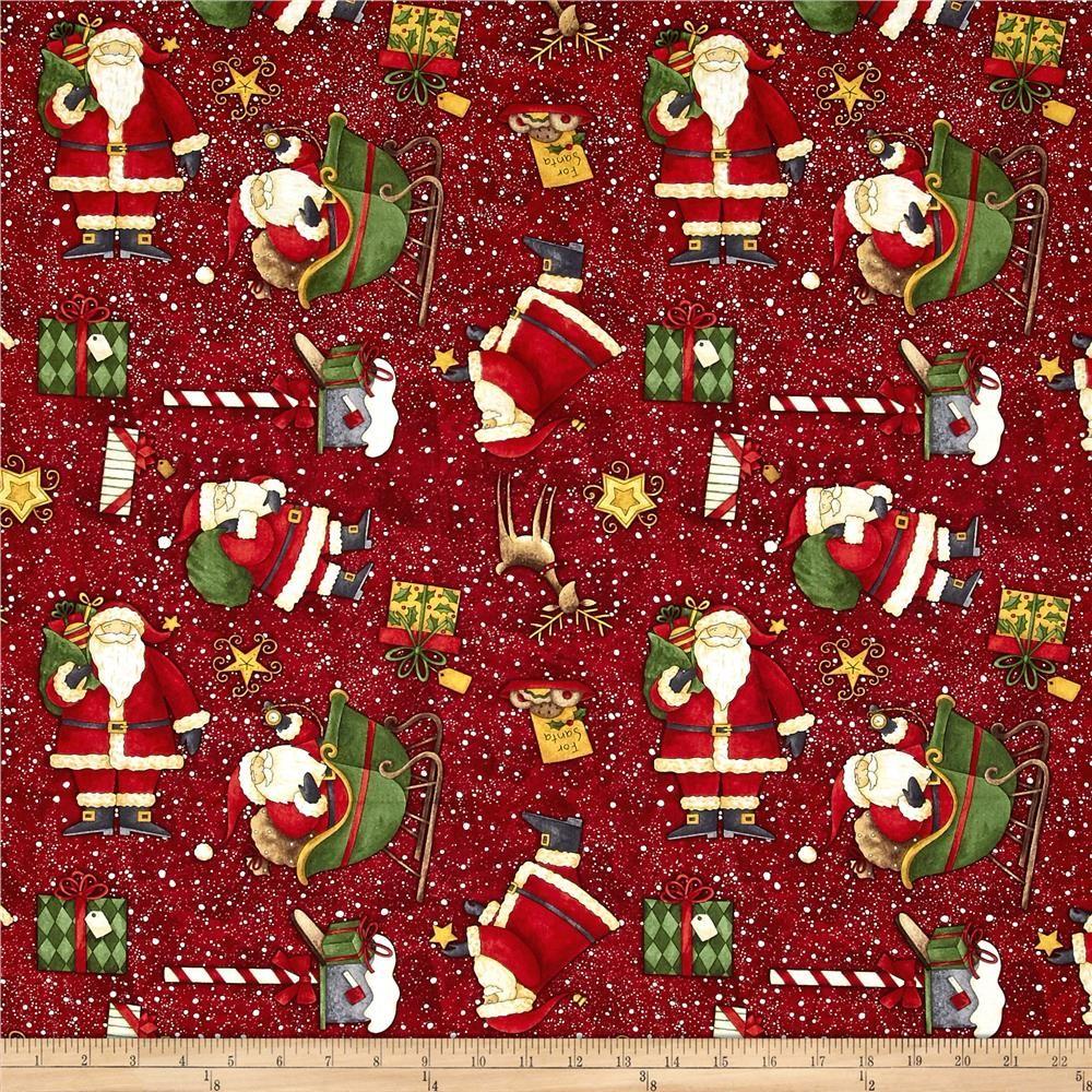 Santa S Big Night Santas Big Night Toss Red Printing On Fabric Christmas Fabric Pattern Wallpaper