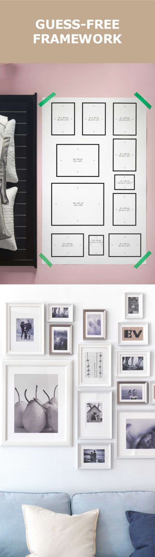 Our mtteby wall hanging template makes decorating easy just tape check out our stylists tips and secret tool to hang pictures and frames for a foolproof finish jeuxipadfo Images