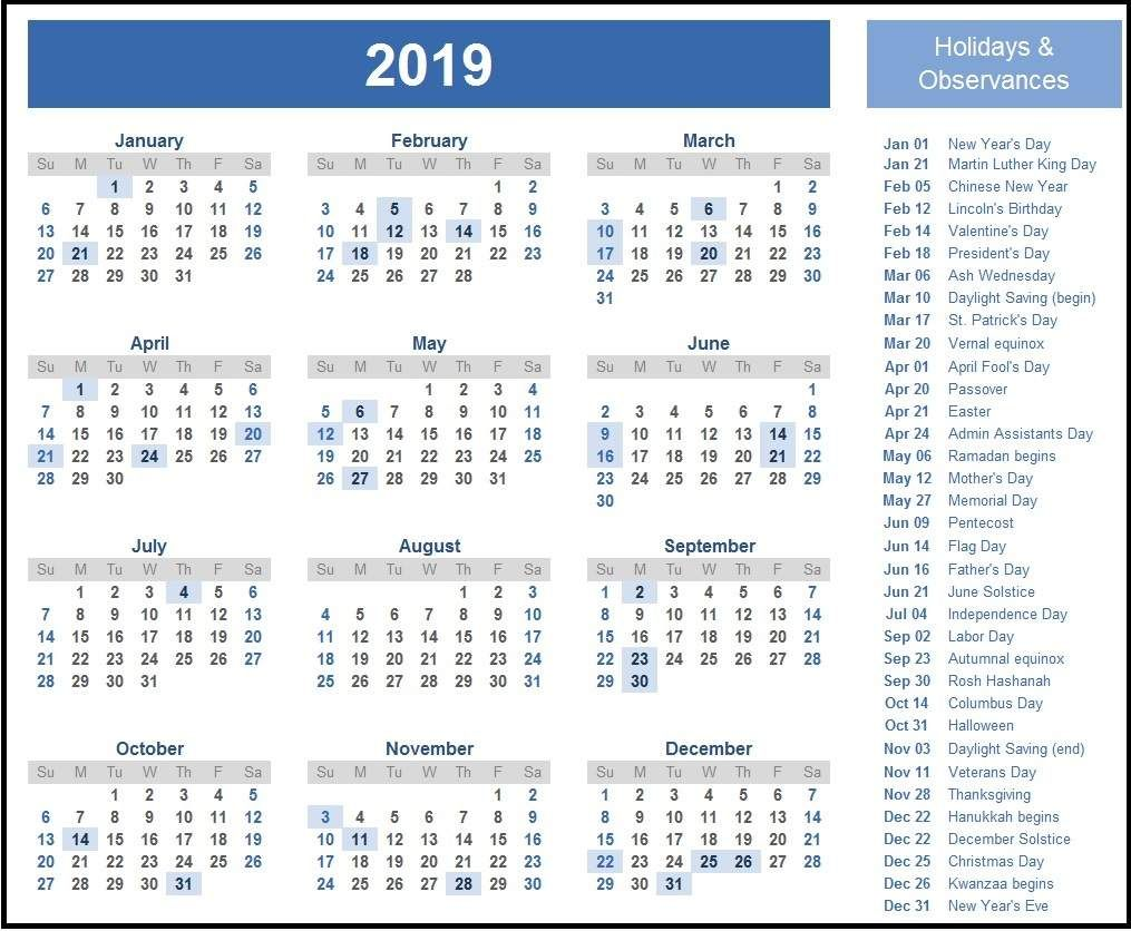 Usa 2019 Calendar With Federal Holidays Usa Calendar Calendar2019 Calendar Printables Printable Calendar Template Monthly Calendar Template