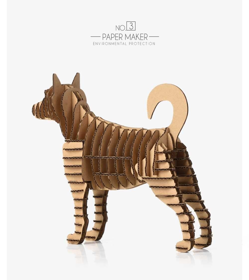 3d Puzzle Pet Dog Paper Craft Pup Model Cute Animal Cardboard