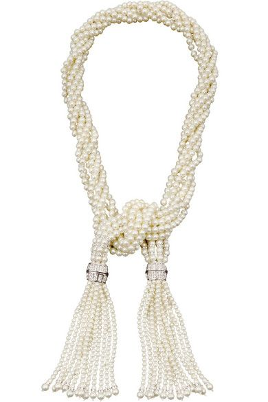 Kenneth Jay Lane | Rhodium-plated, faux pearl and crystal necklace | NET-A-PORTER.COM