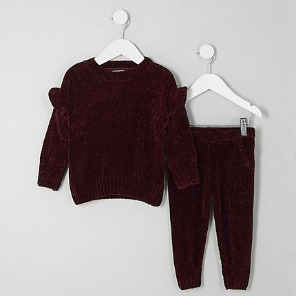 328ffe3ee Mini girls burgundy chenille jumper outfit