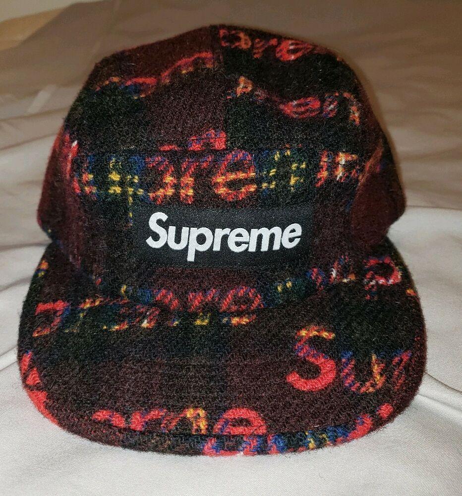 aceae826123 Supreme Harris Tweed Box Logo Camp cap Red Plaid (black) FW18 in Hand   Supreme  Campcap