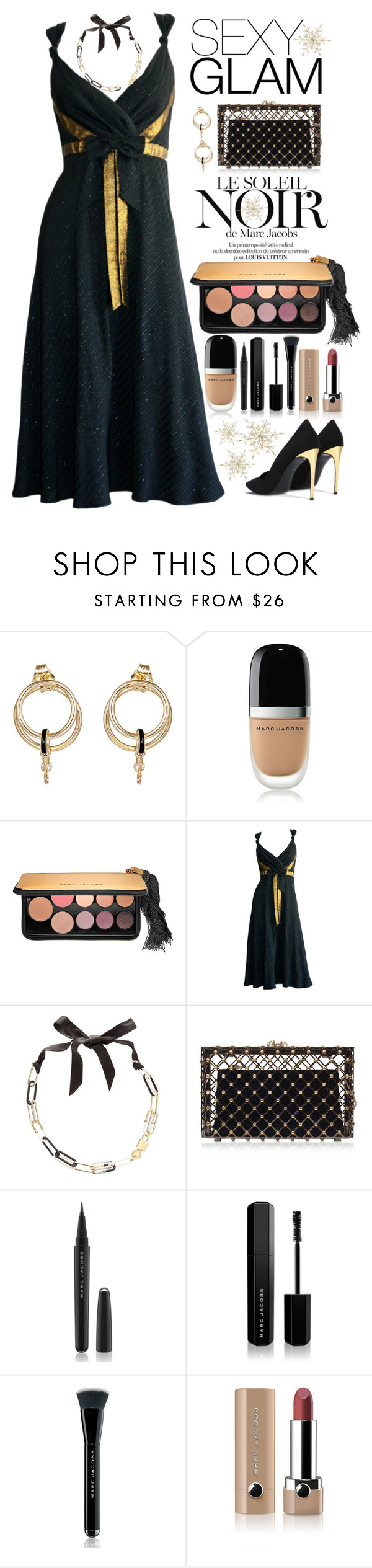 """Holiday Party Glam"" by saifai ❤ liked on Polyvore featuring beauty, Foundrae, Marc Jacobs, Marc by Marc Jacobs, Charlotte Olympia, STELLA McCARTNEY and goglam"