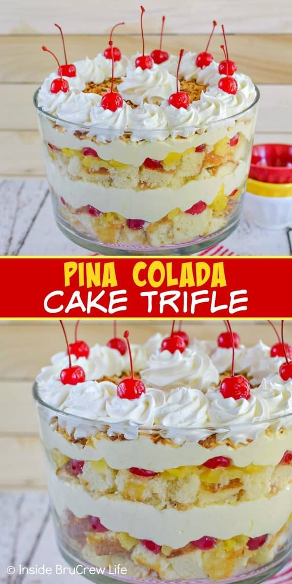 Pina Colada Cake Trifle - this tropical cake trifle has layers of pineapple cake, no bake coconut cheesecake, and fruit. Make this easy recipe for summer parties and watch everyone dig in! #pinacolada #coconut #trifle #nobakecheesecake #cakemix #caketrifle #trifledesserts