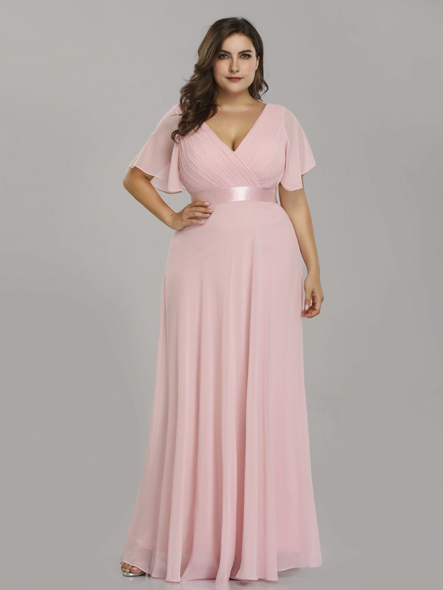 Plus Size Long Empire Waist Evening Dress with Short Flutter ...
