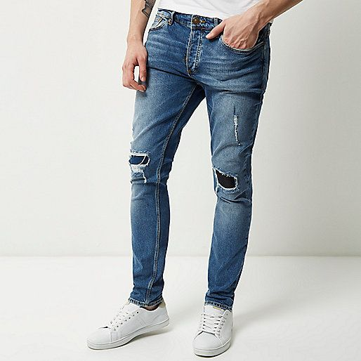 a386b977be Mid blue wash ripped Sid skinny jeans - skinny jeans - jeans - men