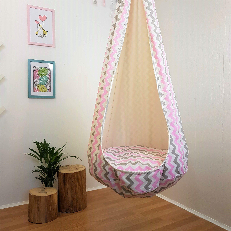 Indoor Swing Chair Hanging Seat Pink Hammock Chair Toddler Image 0