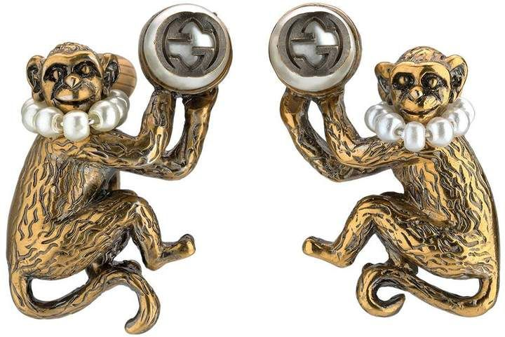 a4360e19fe6 Monkey earrings with glass pearls  Gucci  earring  ShopStyle  MyShopStyle  click link for