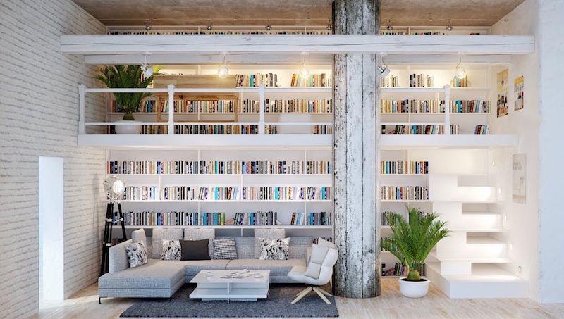 Bibliothèque Déco Blanche En Mezzanine Avec Escalier à Marches