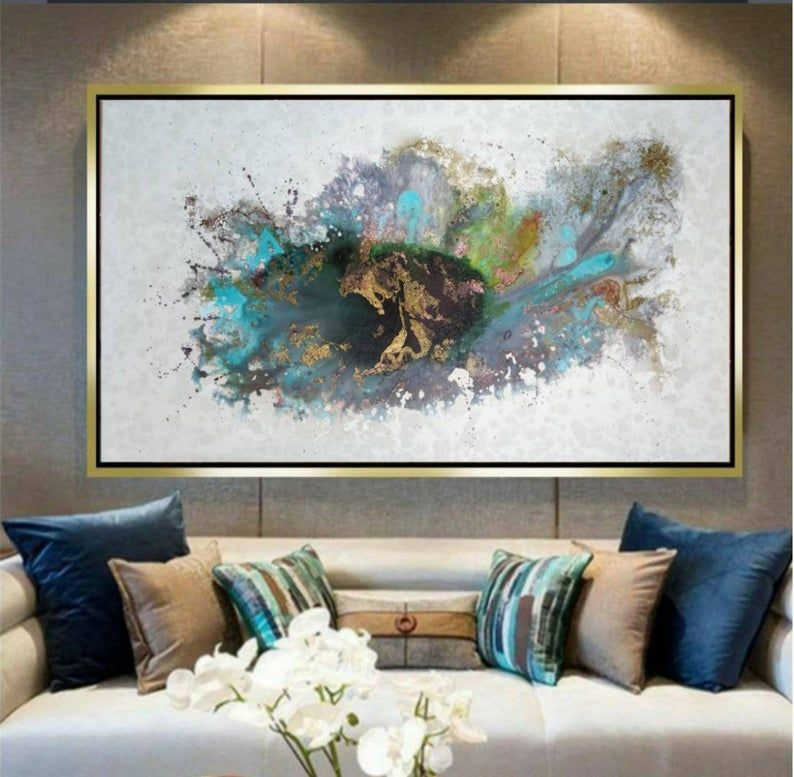 Abstract Oversized Painting 48gold Colorfull Etsy Painting Modern Art Living Room Living Room Art Great paintings for living room