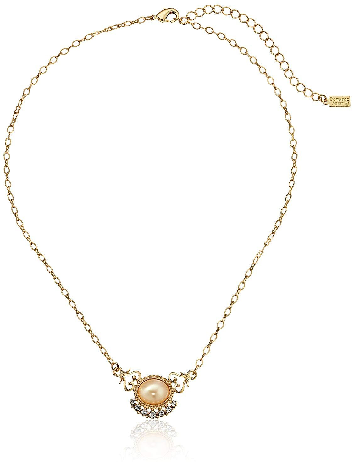 a30df393c Downton Abbey Carded Gold-Tone Simulated White Pearl and Crystal Pendant  Necklace, 16' * You can find out more details at the link of the image.