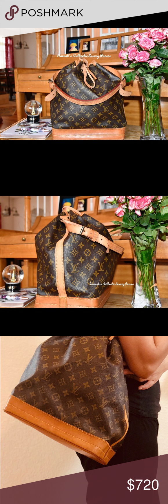 """Authentic Louis Vuitton Monogram Noe draw string Back in stock this beautiful draw string and stylish bag. This is a well pre-loved bag that can be so handy on a daily runs or even on any trips. The vachetta cowhide leather strap is still in great shape and its adjustable. The bottom and sides of the bag has some few spots/water marks(picture is included to further determine) Does not come with a dust bag. Measurement: 10.2""""L x 13.4""""W x 7.5""""H Date Code: A2882, Made in France  FB: Hannah's Authentic Luxury Purses Louis Vuitton Bags Shoulder Bags"""