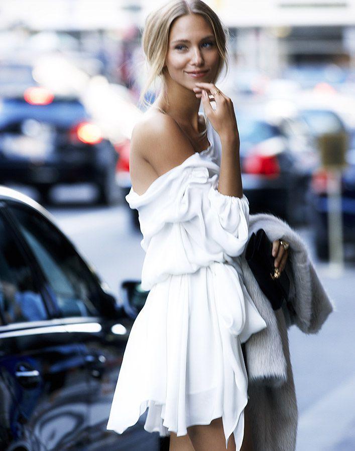 Off the shoulder white dress - stunning