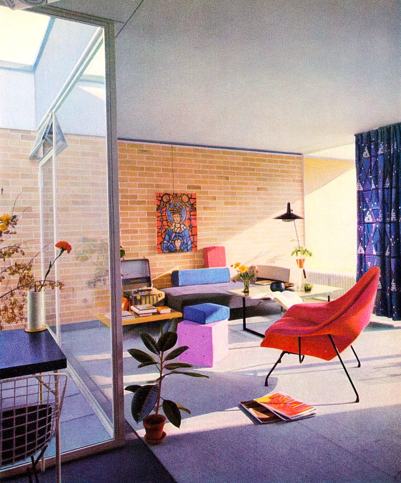 Colorful Living Room With A Baltensweiler Type 600 Lamp 1961