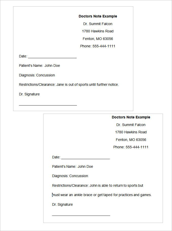dr. note | Doctors Note Template | Pinterest | Notes template ...