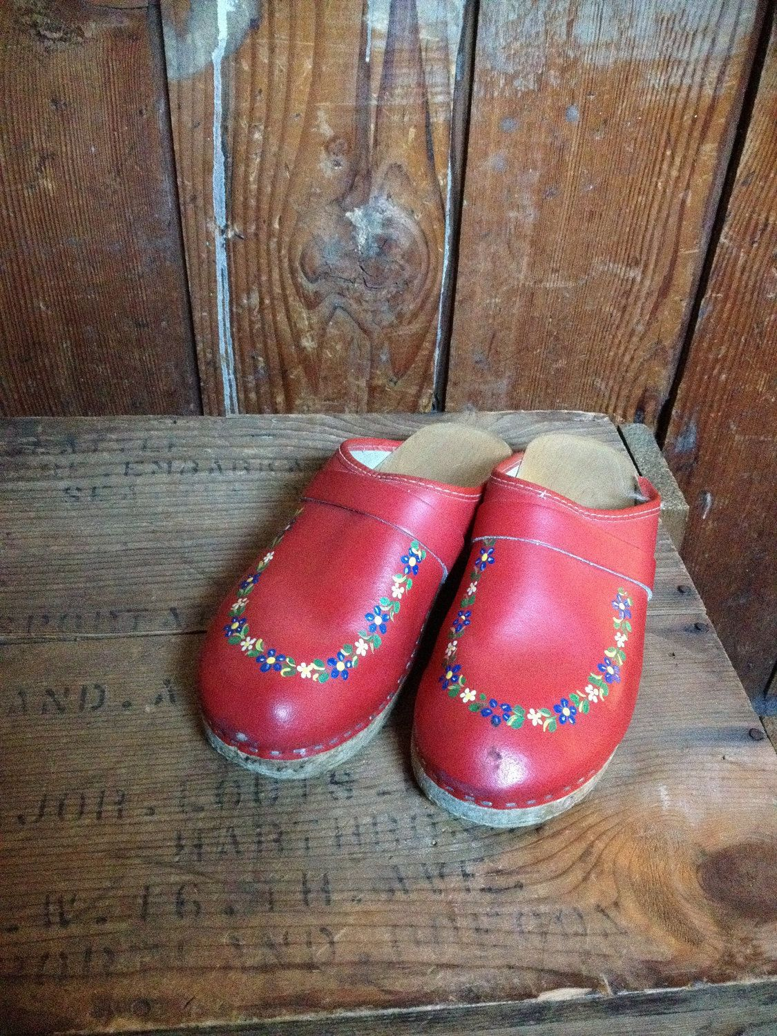 06bd834cf9 Vintage Swedish Red Leather Wooden Clogs  indianvsindian   etsy ...