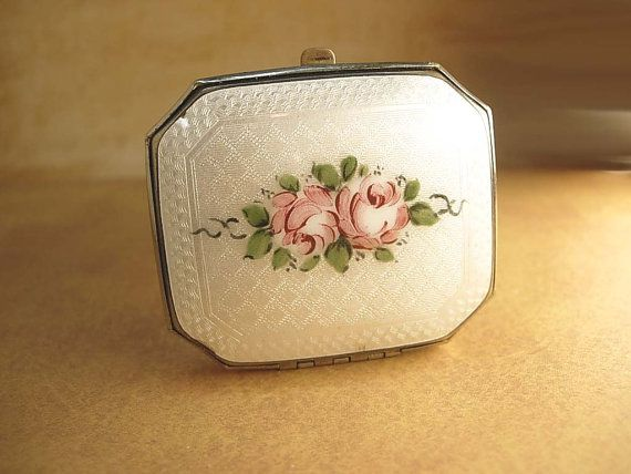 Antique Deco Compact Guilloche enamel with by vintagesparkles, $75.00