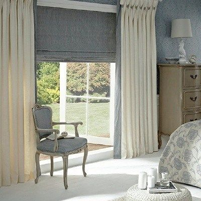 Layer Different Curtain Styles Together To Create A Really Textured And On Trend Look A Roller Blin Curtains And Blinds Together Beige Curtains Canopy Bedroom