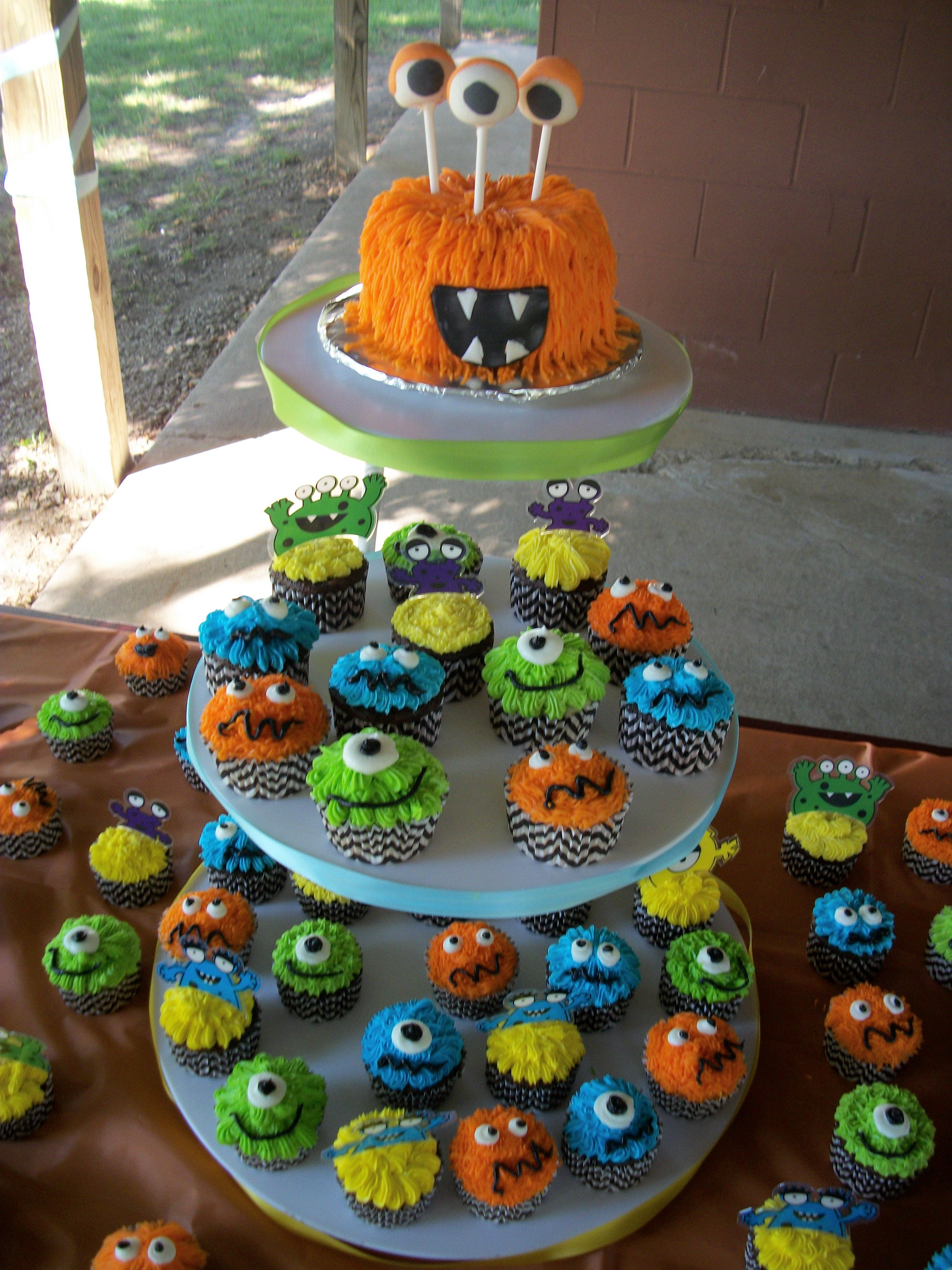 Pin By Aeriana Lashay On Confections Cakes Cookies Monster 1st Birthdays Monster Birthday Parties Monster First Birthday
