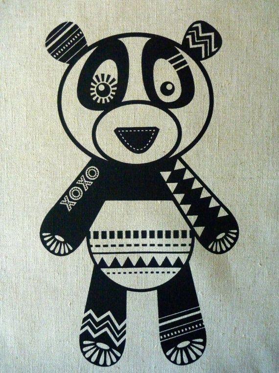 SALE Screen Printed Panda Monium  Black on Natural by catandvee