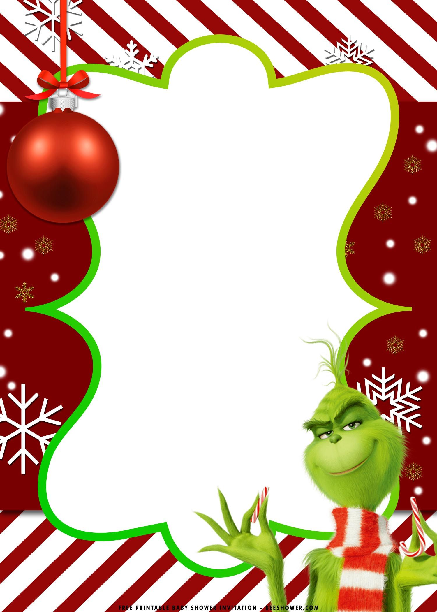 Free Printable Christmas Grinch Baby Shower Invitation Templates Free Printable Baby Shower Invitations Free Christmas Printables Christmas Cards Free