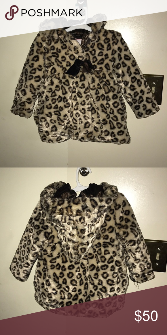 Cute Little Girls Faux Fur Leopard Print Coat So Adorable Girls