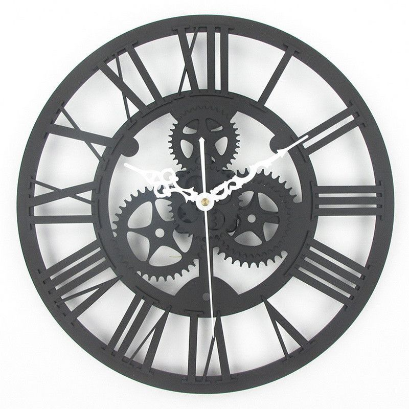 Attractive Antique Gear Wall Clock, Vintage Mechanical Gear Clock, Large Industrial,  Loft Art Home Living Room Wall Decoration