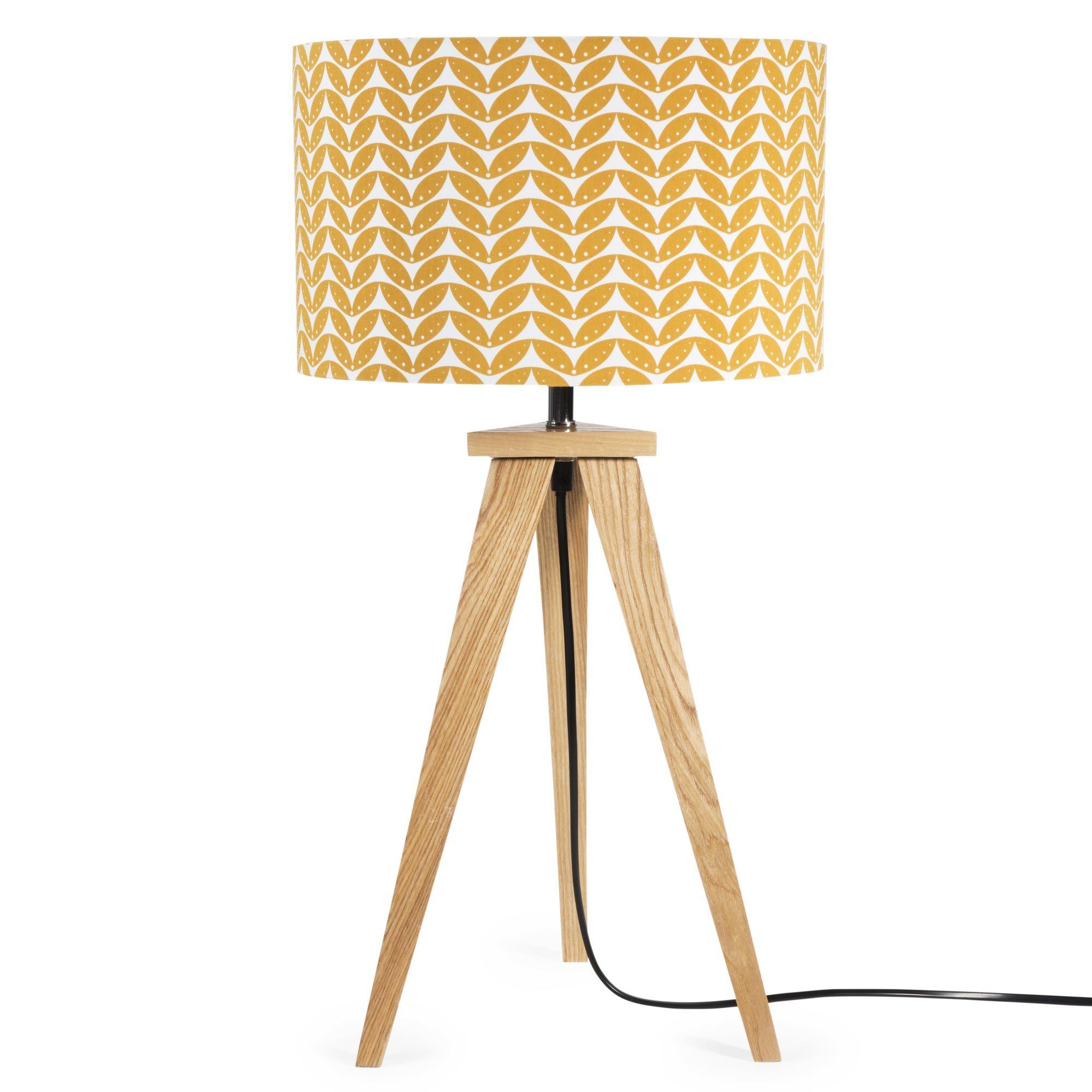 Lampe en toile et bois moutarde H 58 cm BERLIN home