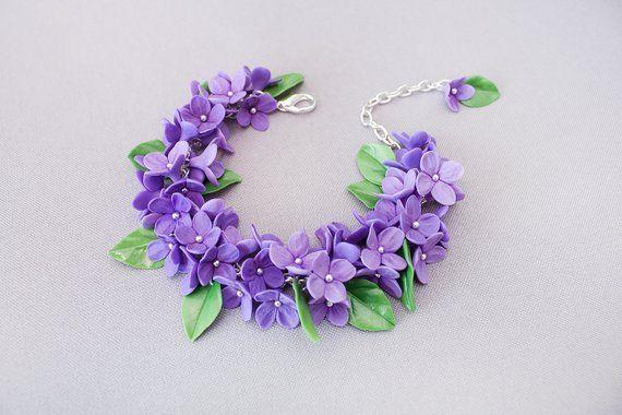 Flower Bracelet Lilac Flowers Polymer Clay Lilac Floral Etsy In 2020 Polymer Clay Flowers Clay Jewelry Diy Floral Jewellery