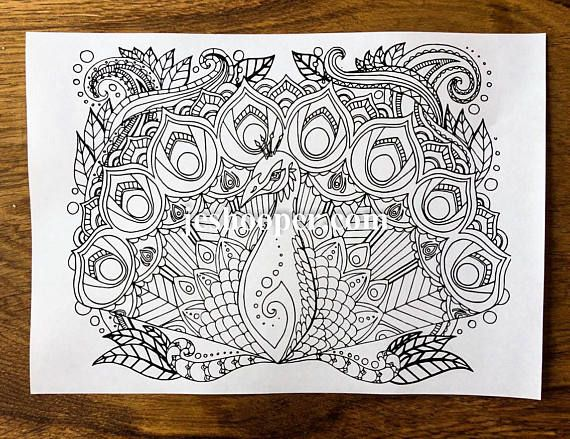 Mindfulness Coloring Pages Pdf : Adult colouring page peacock coloring page instant digital