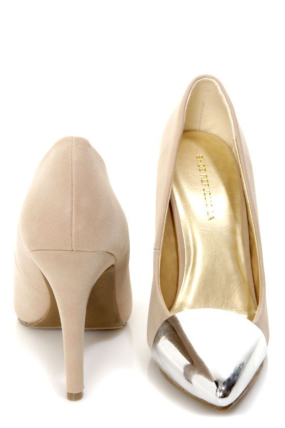 4e4ee910b5d Shoe Republic LA Latin Nude and Silver Cap-Toe Pointed Pumps | Shoes ...