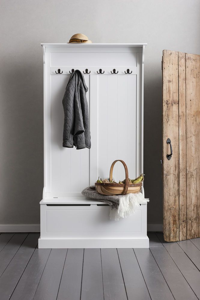Hallway Bench And Coat Hook Shoe Storage In White Brittany