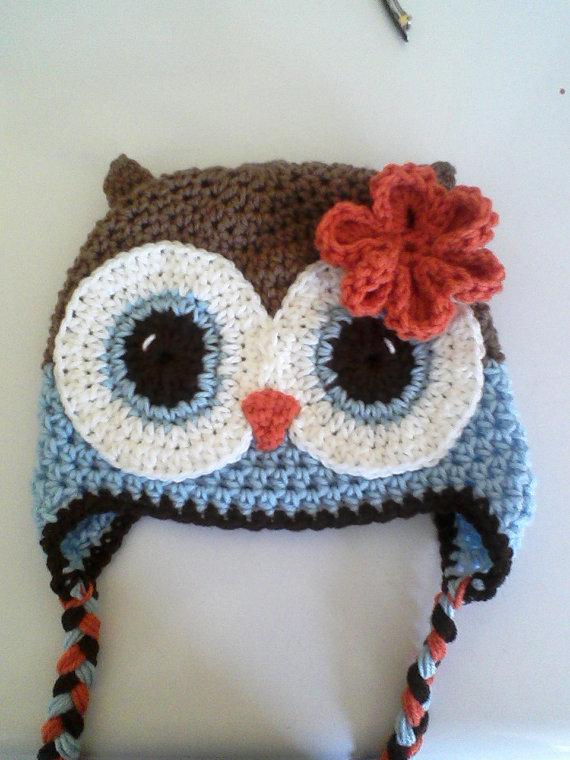 Crochet Owl Flower Earflap Beanie Hat Brown Blue Orange Etsy