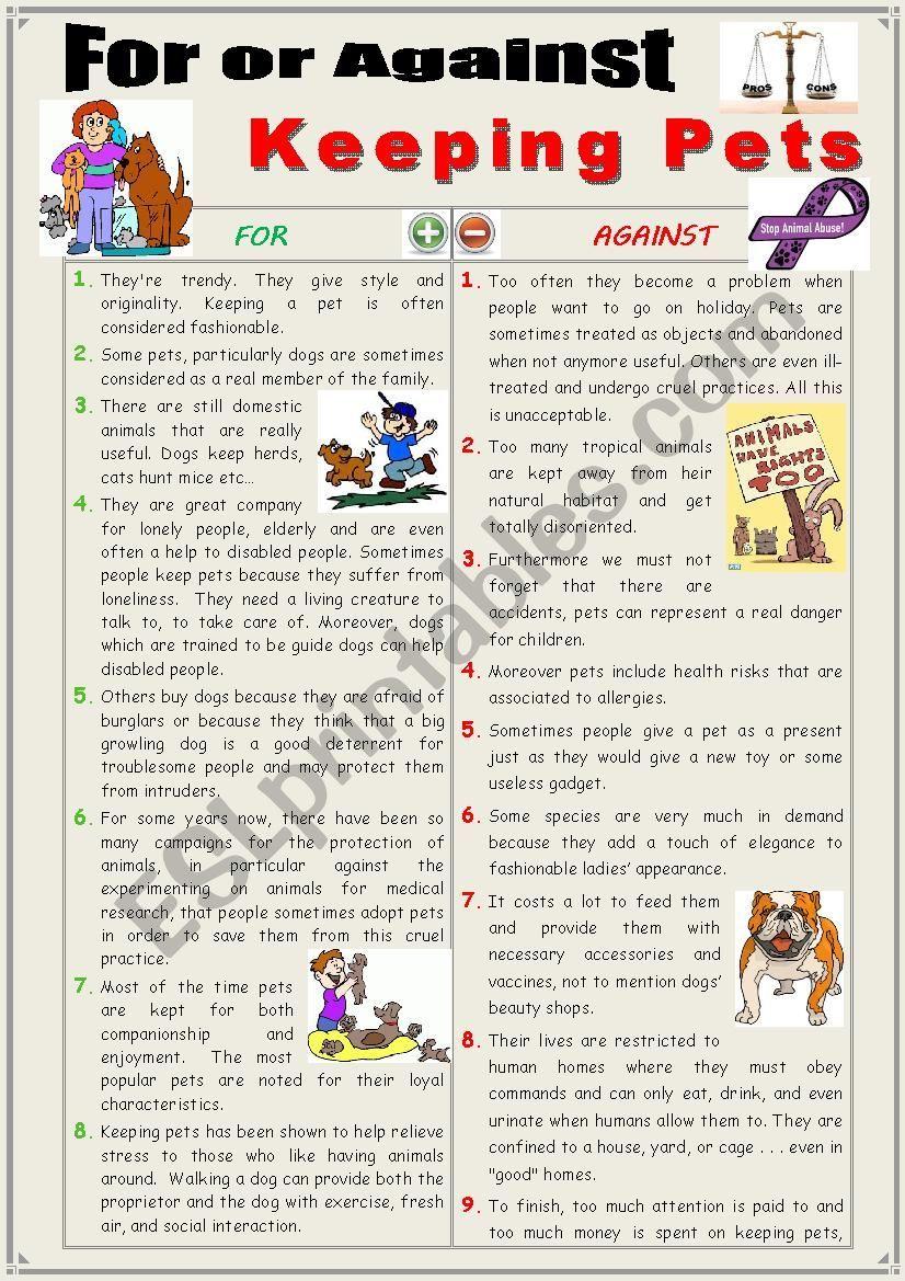 For or against keeping pets (Debating + writing) ESL