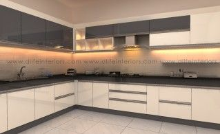 Best Licorice Sleek Finished L Shaped Kitchen By Dlife 400 x 300
