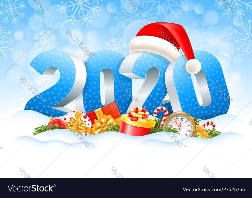 Happy New Year 2020 Vector Image On Vectorstock Christmas Gift Vector Merry Christmas Vector Gift Vector