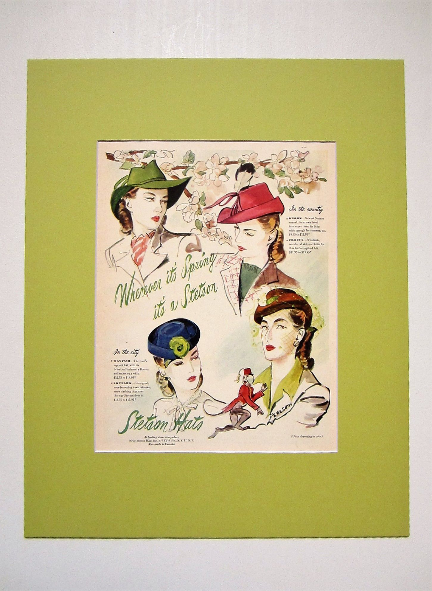 1945 Stetson Hats Vintage Advertisement Matted 16x20 Bedroom Wall ...