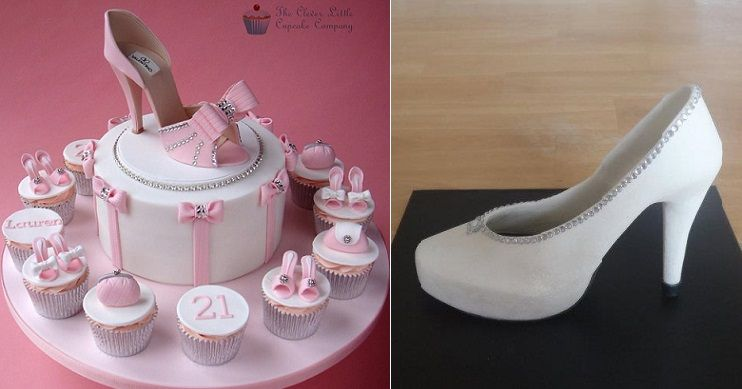 high heel shoe cake 21st birthday cake by The Clever Little Cupcake