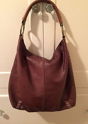 Lucky Brand Whipsch Brown Leather Vintage Inspired Hobo Bag Purse