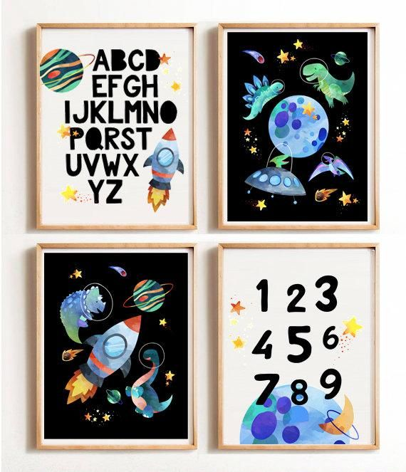 Dinosaur nursery decor, set of 2 art prints, space dinosaur decor, space wall art, printable wall art, alphabet, numbers, educational prints