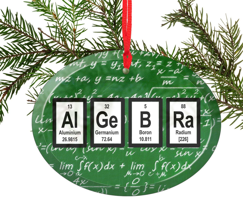 Algebra Math Periodic Table of Elements Glass Christmas Ornament ...