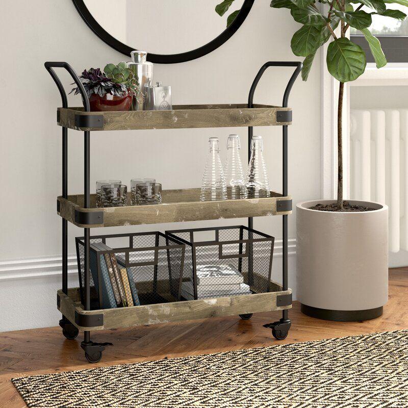 Vintage Industrial Serving Tea Trolley Cart Tray Shelves Drinks Side Furniture