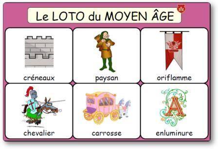 Le loto du moyen age des chevaliers et des princesses loto roi reine et princesses moyen - Coloriage moyen age maternelle ...