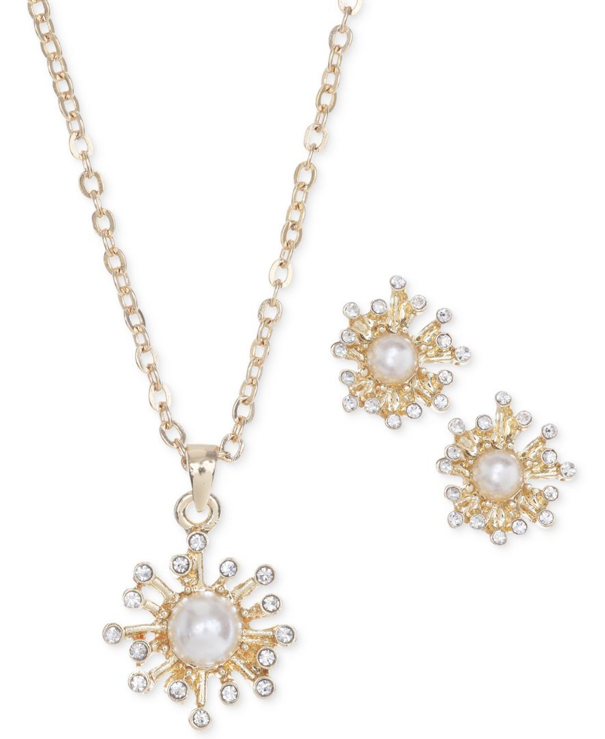 Jones new york goldtone firework pendant necklace and earring set